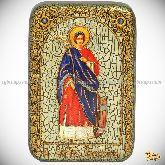 Святая великомученица Екатерина, настольная икона, 10х15 на мореном дубе
