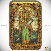 Святая мученица Параскева Пятница, настольная икона, 10х15 на мореном дубе