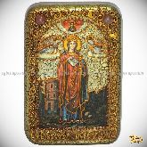 Святая великомученица Варвара Илиопольская, настольная икона, 10х15 на мореном дубе