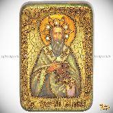 Святитель Василий Великий, настольная икона, 10х15 на мореном дубе