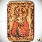 Святитель Григорий Богослов, настольная икона, 10х15 на мореном дубе
