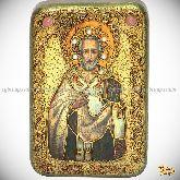 Святитель Иоанн Златоуст, настольная икона, 10х15 на мореном дубе