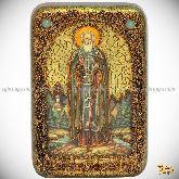 Преподобный Сергий Радонежский чудотворец, настольная икона, 10х15 на мореном дубе