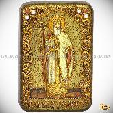Святой равноапостольный князь Владимир, настольная икона, 10х15 на мореном дубе