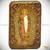 Святой благоверный князь Борис, настольная икона, 10х15 на мореном дубе
