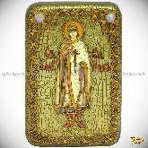 Святой благоверный князь Глеб, настольная икона, 10х15 на мореном дубе