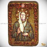 Блаженная старица Матрона Московская, настольная икона, 10х15 на мореном дубе