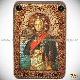 Святой праведный воин Феодор Адмирал (Ушаков), настольная икона, 10х15 на мореном дубе