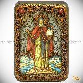 Cвятой благоверный князь Даниил Московский, настольная икона, 10х15 на мореном дубе