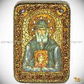 Паисий Святогорец, настольная икона, 10х15 на мореном дубе