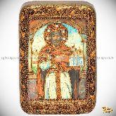 Святой Благоверный князь Ярослав Мудрый, настольная икона, 10х15 на мореном дубе