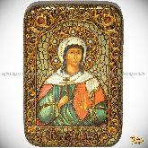 Святая мученица Алла Готфская, настольная икона, 10х15 на мореном дубе