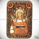 Святая мученица Валентина Кесарийская, настольная икона, 10х15 на мореном дубе