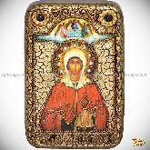 Святая великомученица Анастасия Узорешительница, настольная икона, 10х15 на мореном дубе