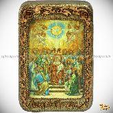 Сошествие Святого Духа, настольная икона, 10х15 на мореном дубе
