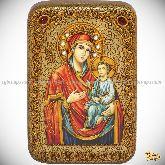 Божией матери Скоропослушница, настольная икона, 10х15 на мореном дубе