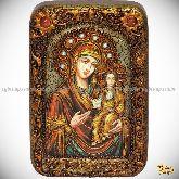 Божией Матери «Одигитрия Смоленская», настольная икона, 10х15 на мореном дубе
