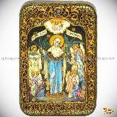 Божией Матери «Всех Скорбящих Радость с грошиками», настольная икона, 10х15 на мореном дубе