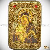 Донская икона Пресвятой Богородицы, настольная икона, 10х15 на мореном дубе
