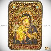Феодоровская икона Божией Матери, настольная икона, 10х15 на мореном дубе