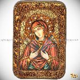 """Образ Божией Матери """"Семистрельная"""", настольная икона, 10х15 на мореном дубе"""