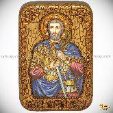 Святой мученик Анатолий Никомидийский, настольная икона, 10х15 на мореном дубе