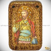 Святой мученик Виктор Дамасский, настольная икона, 10х15 на мореном дубе