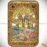 Святые преподобные Александр (Пересвет) и Андрей (Ослябя) Радонежские, настольная икона, 10х15 на мореном дубе