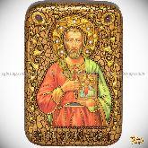 Святой мученик Евгений Севастийский, настольная икона, 10х15 на мореном дубе