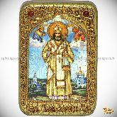 Святитель Тихон Задонский, настольная икона, 10х15 на мореном дубе