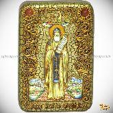 Преподобный Никита Столпник, Переславский чудотворец, настольная икона, 10х15 на мореном дубе