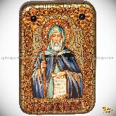 Преподобный Антоний Великий, настольная икона, 10х15 на мореном дубе