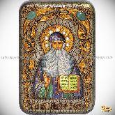 Преподобный Максим Грек, настольная икона, 10х15 на мореном дубе