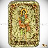 Святой мученик Валерий Севастийский, настольная икона, 10х15 на мореном дубе