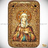 Святая Емилия Кесарийская (Каппадокийская), настольная икона, 10х15 на мореном дубе