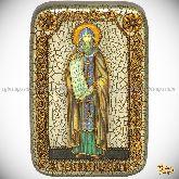 Святой равноапостольный Кирилл Философ, настольная икона, 10х15 на мореном дубе