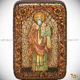 Святой равноапостольный Мефодий Моравский, настольная икона, 10х15 на мореном дубе