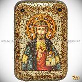 Святой князь Владислав Сербский, настольная икона, 10х15 на мореном дубе
