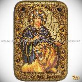 Святая мученица Дария Римская, настольная икона, 10х15 на мореном дубе