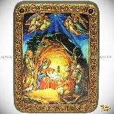 Рождество Господа Бога и Спаса нашего Иисуса Христа, подарочная икона, 15х20 на мореном дубе