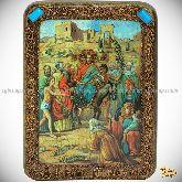 Вход Господень В Иерусалим, подарочная икона, 15х20 на мореном дубе