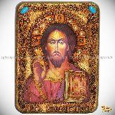 Господь Вседержитель, подарочная икона, 15х20 на мореном дубе