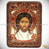 Спас Нерукотворный, подарочная икона, 15х20 на мореном дубе