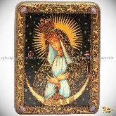 Образ Пресвятой Богородицы «Остробрамская (Виленская)», подарочная икона, 15х20 на мореном дубе