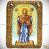 Божией Матери «Нерушимая Стена», подарочная икона, 15х20 на мореном дубе