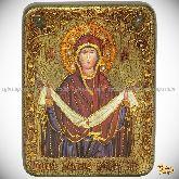 """Образ Божией Матери """"Покров"""", подарочная икона, 15х20 на мореном дубе"""