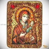 """Образ Божией Матери """"Иверская"""", подарочная икона, 15х20 на мореном дубе"""