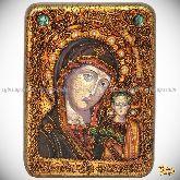 Образ Казанской Божией Матери, подарочная икона, 15х20 на мореном дубе