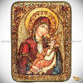 """Образ Божией Матери """"Утоли моя печали"""", подарочная икона, 15х20 на мореном дубе"""