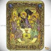 Троица, подарочная икона, 15х20 на мореном дубе